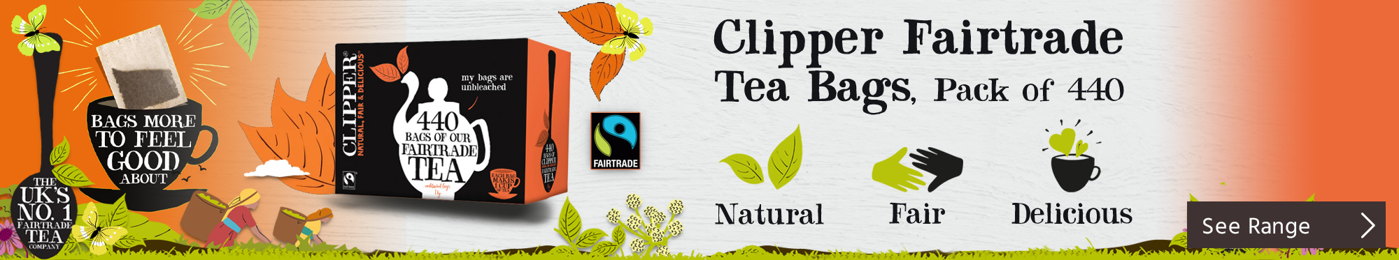 Clipper Fairtrade Tea Bags, Pack of 440 <TAG>FROM</TAG>