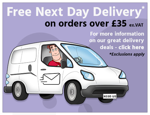 Free Next Day Delivery on orders over £50 ex.VAT - Exclusions Apply