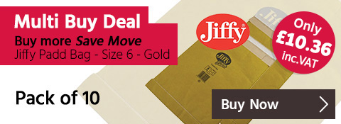 Multi Buy Deal - Buy More, Save More on Jiffy Padd Bag Size 6 Gold - 10Pk